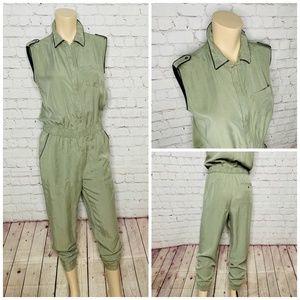 ZARA Olive Green Sleeveless Jumpsuit w Pockets S